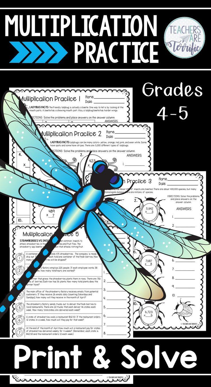 Multiplication Practice Print & Solve Grades 4-5 | Problem Solving ...