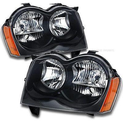 2005 2006 2007 Jeep Grand Cherokee Black Headlight Headlights w Reflector Does not apply | eBay