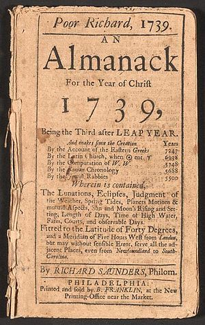 Almanac.  Google Image Result for http://upload.wikimedia.org/wikipedia/commons/thumb/8/81/Poor_Richard_Almanack_1739.jpg/300px-Poor_Richard_Almanack_1739.jpg