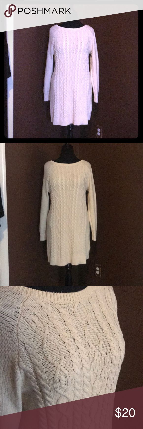 XL cream sweater dress Worn 2xs. Thick cream sweater dress. Super cute. Made by old Navy. Old Navy Dresses Mini