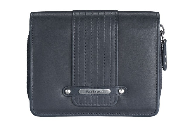 Fold-over wallet in smooth leather, with extra cc flap and zip around coin compartment. Wallets from Fastrack http://www.fastrack.in/product/c0336lbk01/?filter=yes=india=8=4&_=1334231923409