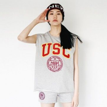 """[College Girl Set: Gray] A set of boxy fit #sleeveless tee and #shorts featuring a """"USC"""" patch. Elasticized drawstring waist. Pockets. Casual and #Sporty style #activewear, #workout wear."""