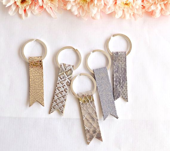 Bridesmaids Set of 5 Gift  Metallic Silver Leather by MayaaCo