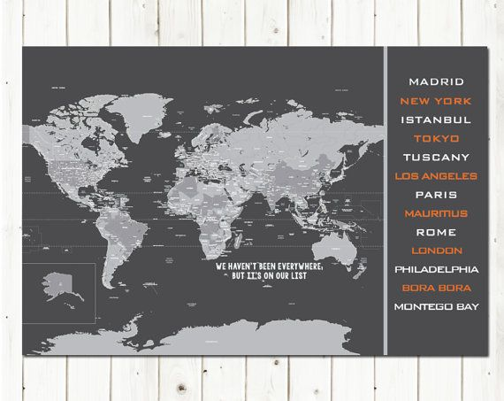 19 best world maps images on pinterest world maps maps and travel world map poster destination list 20x30 inches world travel honeymoon vacation art gift for men gift for grads moms gumiabroncs Images