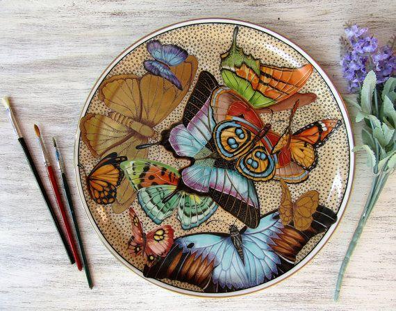 Butterflies over gold dessert plate hand by LaTavolozzaShop