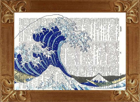 The Great Wave off Kanagawa Print  vintage Japanese Tidal Tsunami, Dictionary art print, upcyled book page, wall art print. $9.50, via Etsy.