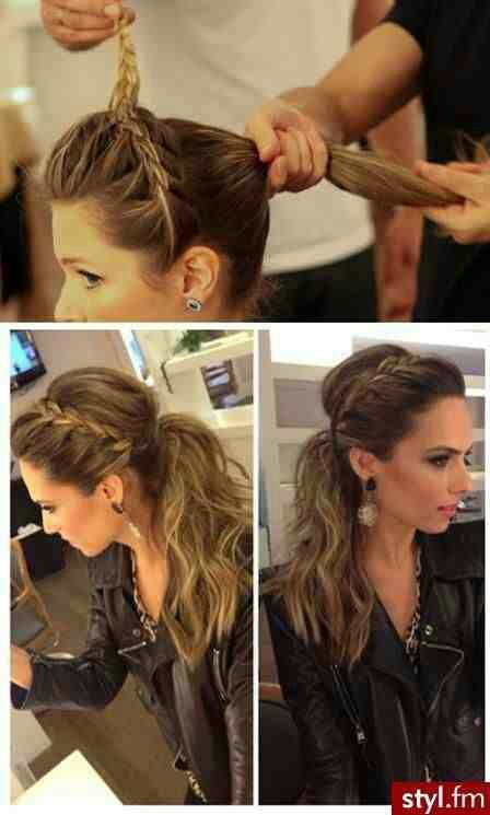 French Braid Updo. Carmel Brown And Blonde Hair.