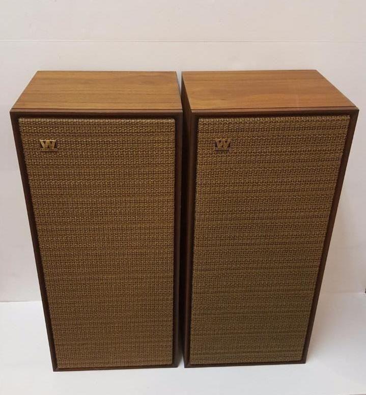 Vintage Mid Century Modern WHARFEDALE TRITON Bookshelf Speakers EXCELLENT Wharfedale