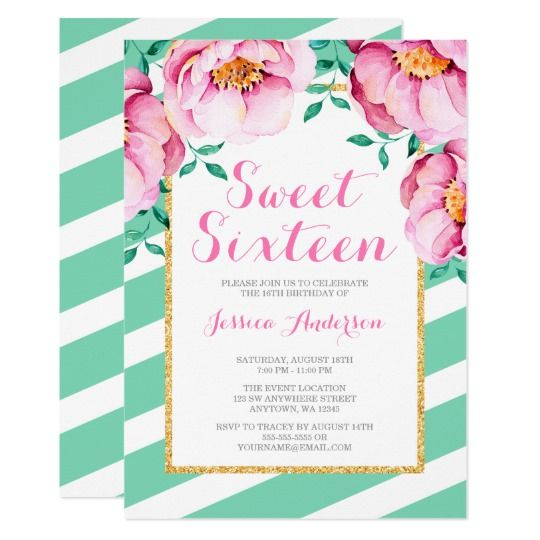 17 best sweet 16 invitations images on pinterest 16th birthday mint stripes pink watercolor floral sweet 16 invitation stopboris Image collections