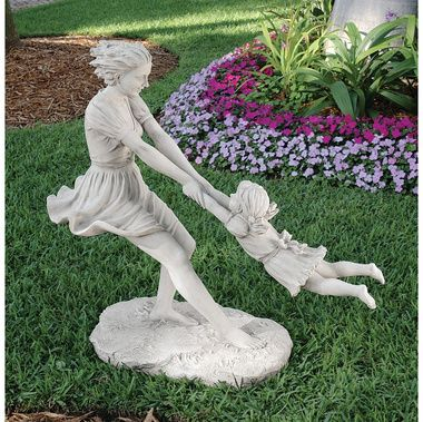 "Summer's Joy Garden Sculpture - 44""Wx18""Dx40""H. 55 lbs.  Toscano-exclusive work crafted from 55 lbs. of quality, two-toned designer resin with a faux stone finish. With pigtails flying, our mother-daughter duo are a memory frozen in time that's the perfect centerpiece for a summer garden or indoor gallery.   http://www.designtoscano.com/product/garden+statues/sale+garden+statues/summer%26rsquo-s+joy+garden+sculpture+-+ky571101.do?sortby=bestSellers"