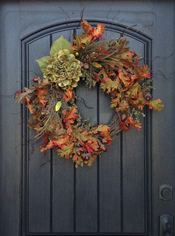 Corona-autunno bacca corona-ramoscello-Holiday Wreath - Grapevine porta Decor-caduta Decor-caduta foglie-monogramma decorazione-Wispy corona caduta