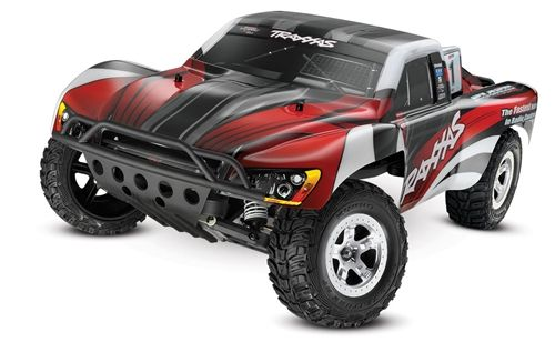 This is the radio controlled, electric powered, ready to run, 1/10 scale Traxxas Slash Short Course Race Truck.