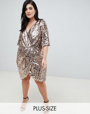 85c96de94 TFNC Plus sequin kimono sleeve wrap dress in gold in 2019 | Clothes ...