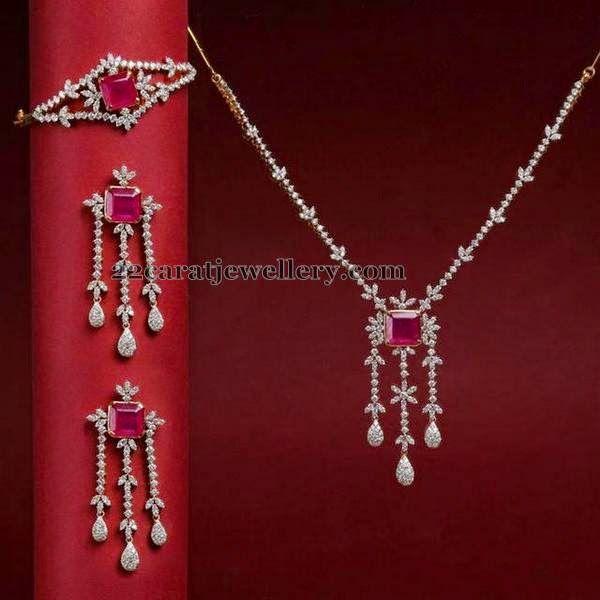 Jewellery Designs: Simple Diamond Set with Bracelet