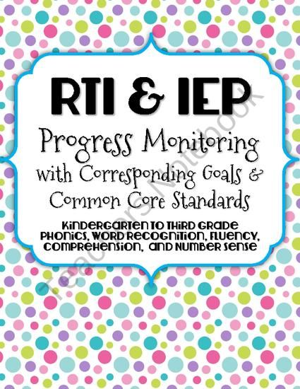 Each of these progress monitoring data collection pages have goals that are pre-written to align with the Common Core Standards and fit perfectly into your IEPs. These are excellent resources to allow for quick and easy progress monitoring of RTI or IEP goals.