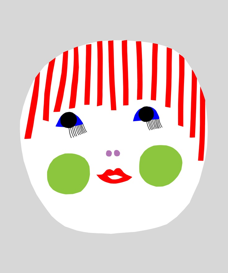 """Naamat"",  one of a series of illustrations for prints, t-shirts, and bags, designed by Marimekko designer Maija Louekari for the Flow Festival in Helsinki, 2011."