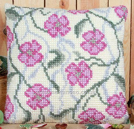 Rambling Blossom Cushion Front Chunky Cross Stitch Kit