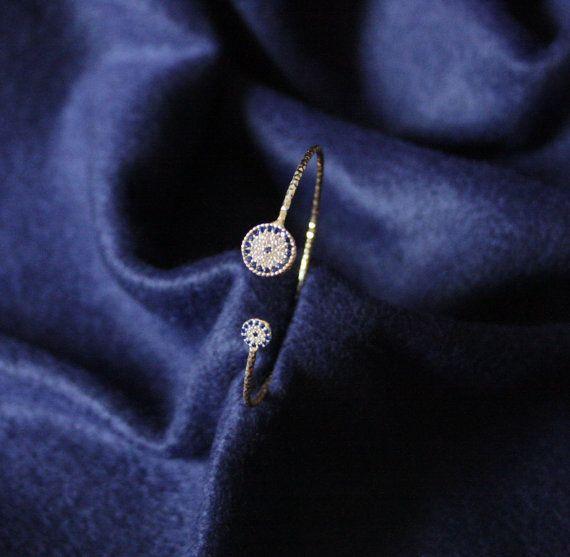 Adjustable Evil Eye Gold Plated Bracelet White & Blue by appax