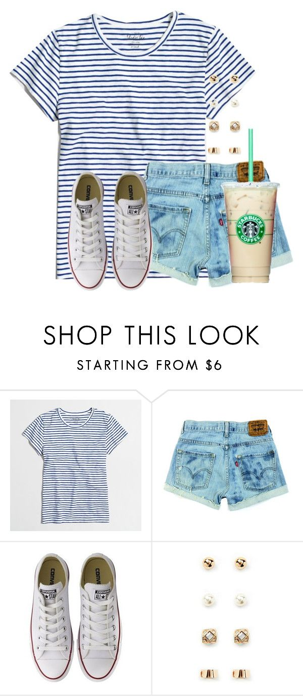 """Starbucks"" by flroasburn ❤ liked on Polyvore featuring J.Crew, Converse and Forever 21"