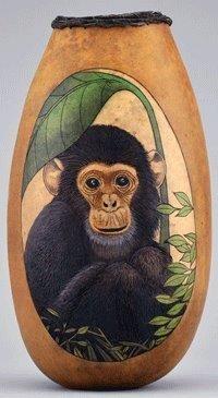 Woodburned monkey by Carrie Lynn Dearing