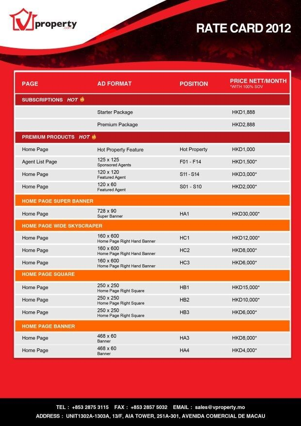 Download Pack Of 25 Rate Card Templates In 1 Click