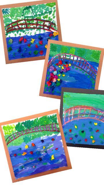 PARK ART SMARTIES: Monet's Bridge, tempera, oil pastel bridges, tissue paper lilies