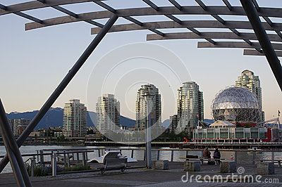 Science World at sunset seen from the former site of the 2010 Olympic Village in Vancouver. Picture taken May 2016.