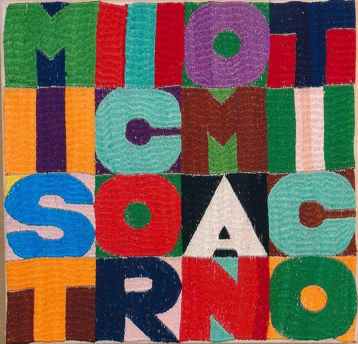 Artista: Alighiero Boetti (1940-1994)  Titolo: Mistico Romantico  Anno: 1994 / Tecnica: Ricamo su tessuto / Misure: 27,5x28 cm / Autentica: Archivio Alighiero Boetti n° 6953 | LARTE Esposizioni