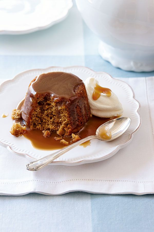 These individual versions of the classic English dessert are impressive for entertaining and surprisingly easy to make. Poking holes in the tops of the cakes allows the sweet, creamy and boozy sauce to soak in.