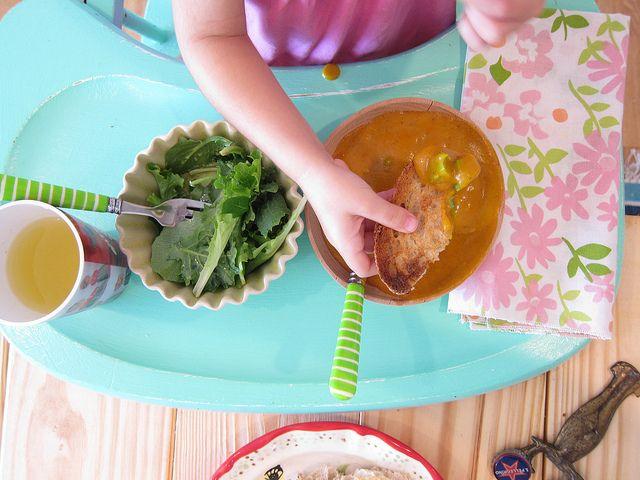 salad**, creamy sofrito potato soup, with avocado and toast.