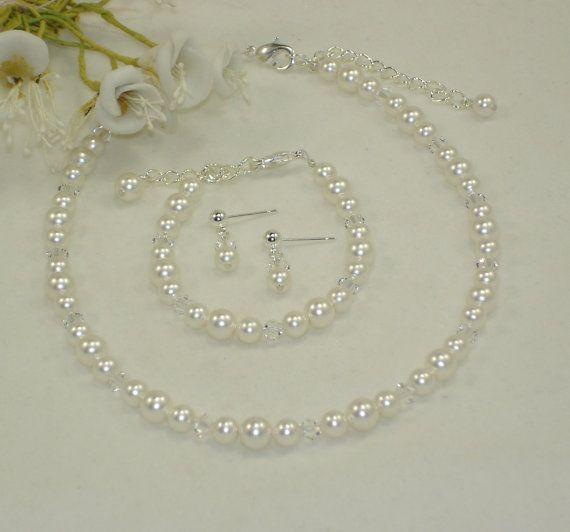 Flower Girl Necklace Bracelet & Earring Set by callalilyjewels, $28.00