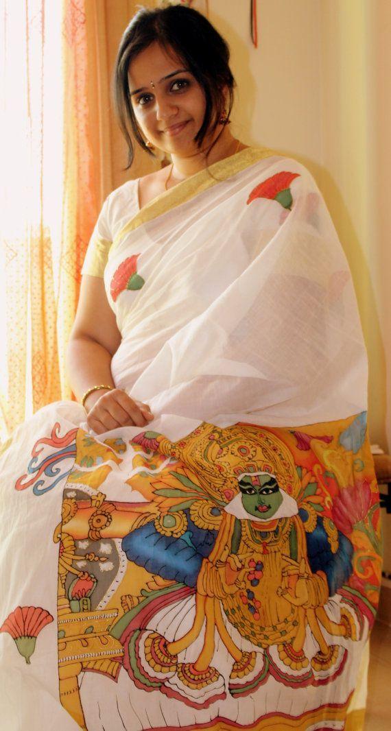 Kathakali dance form hand painted on Kerala Kasavu Saree by drudradas - MinMit Clothing