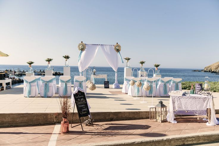#sea #view #wedding # romantic #white #beach #decor