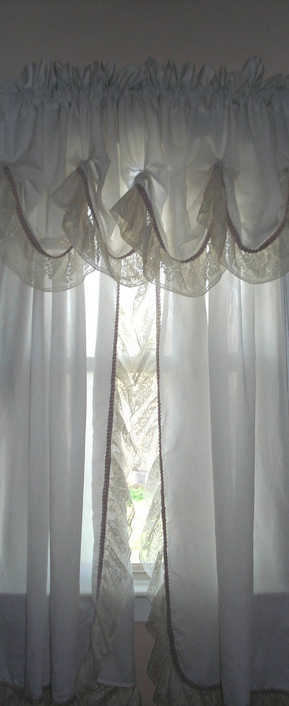 Ivory And Mauve Color Victorian Style Curtain With Detached Valance