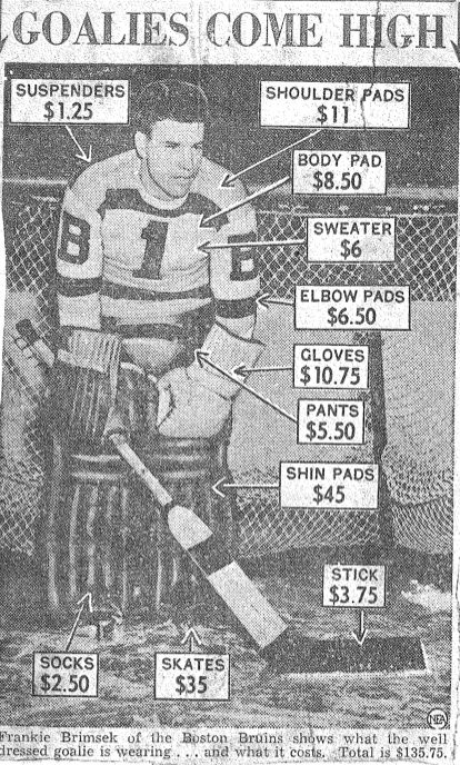 The price of goalie equipment in 1940.  You can't even by a stick for the combined total of all that these days!