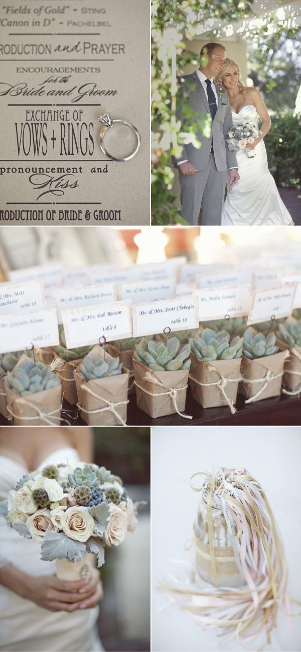 Cute little succulents wrapped in kraft paper. Excellent wedding ideas here too