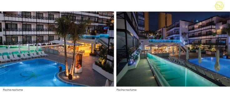 Refurbishment Vanilla Garden Hotel by night.  Tenerife  www.bn-arquitectos.com #Hotel #refurbishment #reforma #arquitectos #interiorismo #diseñodeinteriores #iluminacion #tropical #pool #design #interiordesign