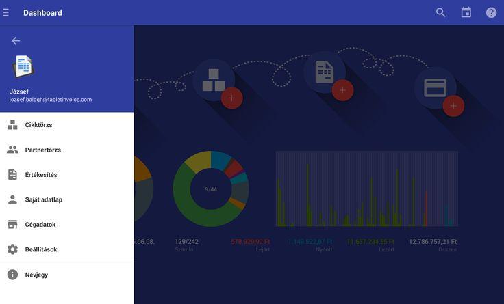 Tablet Számla App menü.  Az android tabletre optimalizált alkalmazás letölthető a Google Play alkalmazás piactérről, a szolgáltatás előfizethető az alkalmazáson belül (990,- HUF/felhasználó/hónap): https://play.google.com/store/apps/details?id=com.tabletinvoice.app