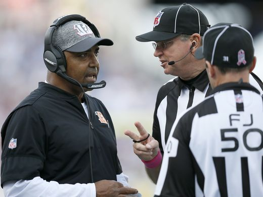 Bengals vs. Patriots:     October 16, 2016  -  35-17, Patriots  -    Cincinnati Bengals head coach Marvin Lewis talks with an official between plays in the fourth quarter of the NFL Week 6 game between the New England Patriots and the Cincinnati Bengals at Gillette Stadium in Foxboro, Mass., on Sunday, Oct. 16, 2016. The Bengals fell to 2-4 with a 35-17 loss in Tom Brady's first home game since his four-game suspension.  Sam Greene