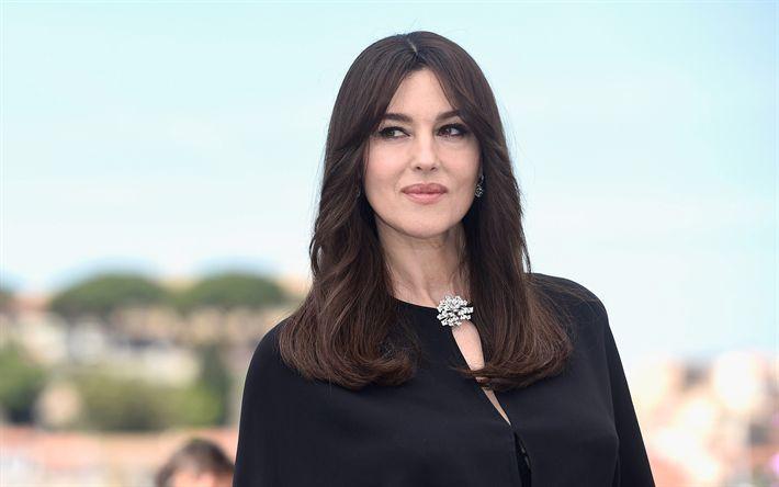 Herunterladen hintergrundbild monica bellucci, porträt 2017, schöne frau, die italienische schauspielerin, schwarz damen-anzug, italienisches modell