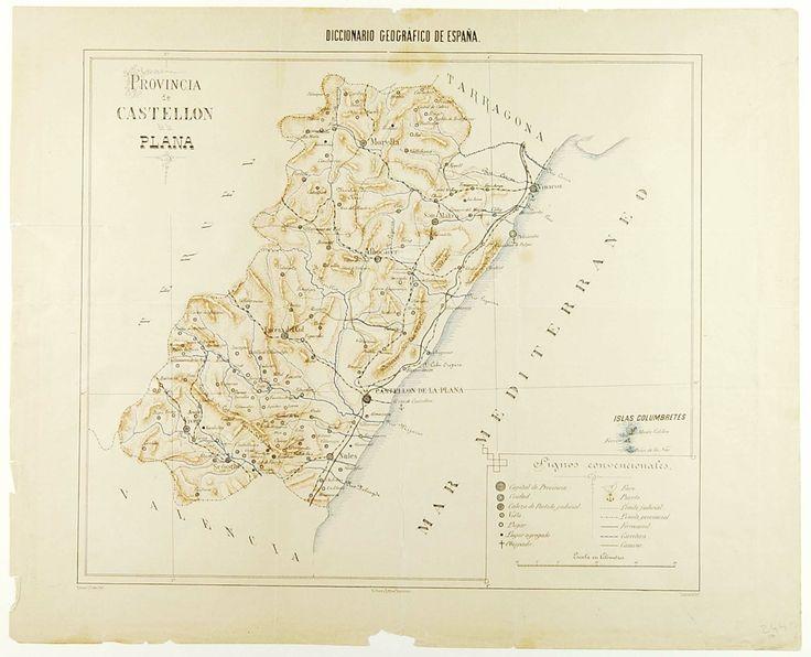 Provincia de Castellón de la Plana, por Ramon J. Prats, dibº, Lasauca litº., entre 1850 y 1890.  Escala: ca. 1:400.000
