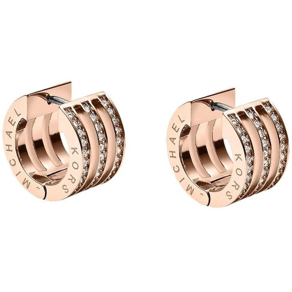Pre-owned Michael Kors Rose Gold Pave Huggie Earrings ($53) ❤ liked on Polyvore featuring jewelry, earrings, pink gold earrings, red gold jewelry, rose gold earrings, pre owned jewelry and rose gold pave earrings