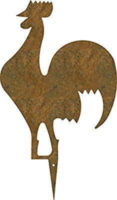 """Decorazione da prato e giardino""""FUNKY"""" sagoma gallo - in acciaio CORTEN colore RUGGINE. Prodotto artigianalmente in Italia."""