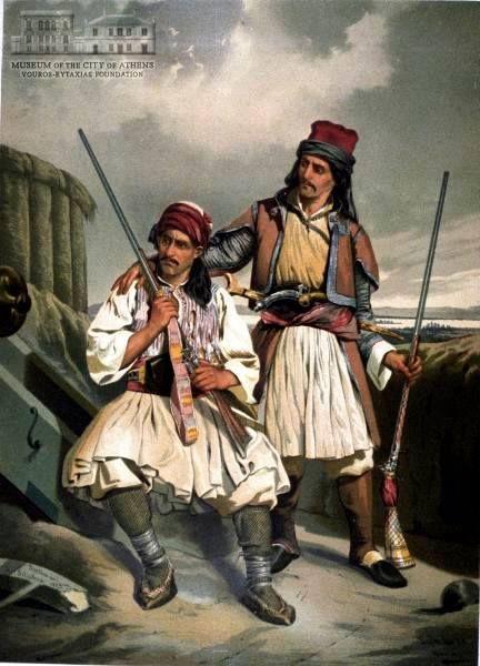 LEOP. MULLER (1834-1892)Έλληνες με καριοφύλια 1855, λιθογραφία έγχρωμη.