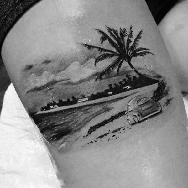 Driving Car Vacation Palm Tree Tattoo On Arms For Men