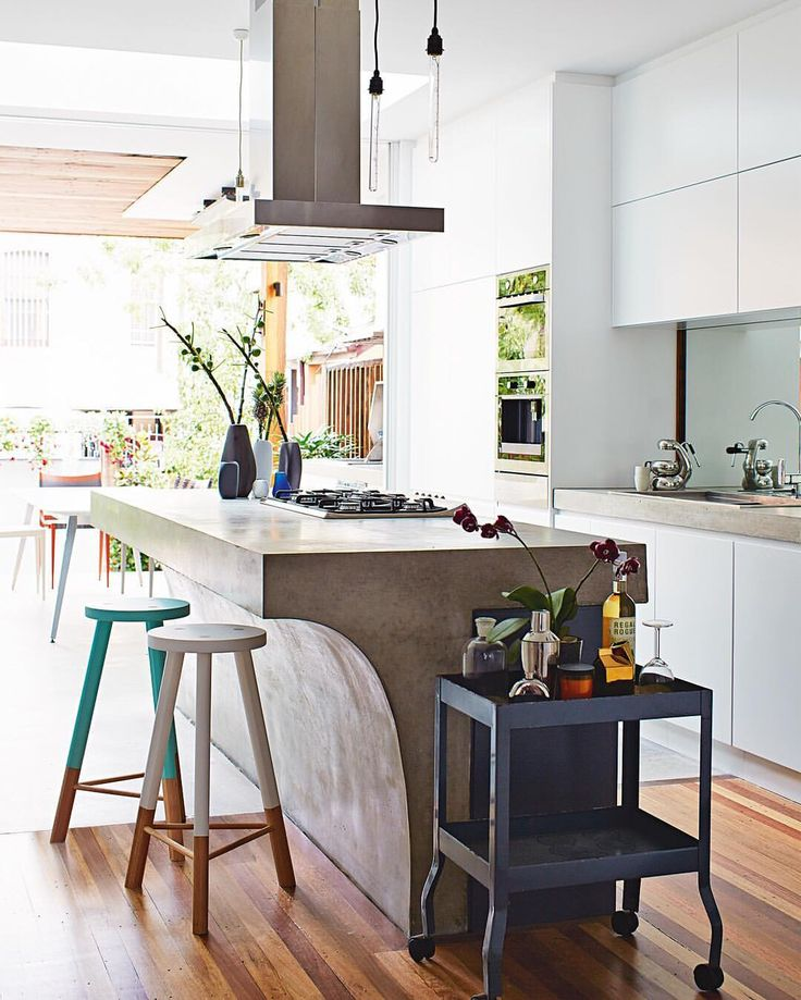 White kitchen, concrete island