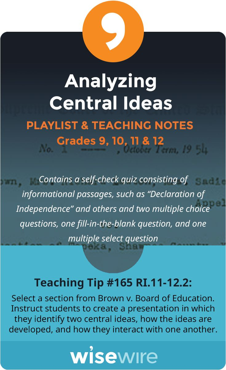In this playlist, students explore standard RI.11-12.2. They learn how to identify central ideas, distinguish between central ideas and supporting factors, and analyze how central ideas and their respective supporting facts interact and build on one another to provide a complex analysis. Students learn about an important Supreme Court case in order to practice providing a complex analysis. @WisewireEd