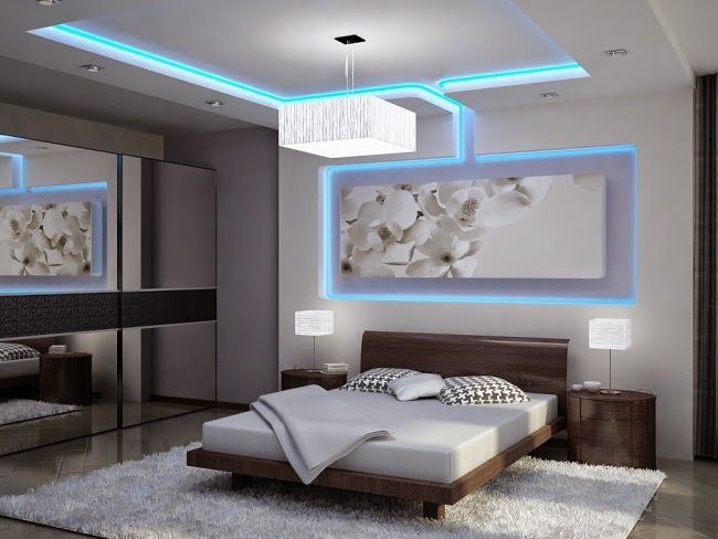 colored LED ceiling lighting in ultra modern suspended ceiling design for bedroom
