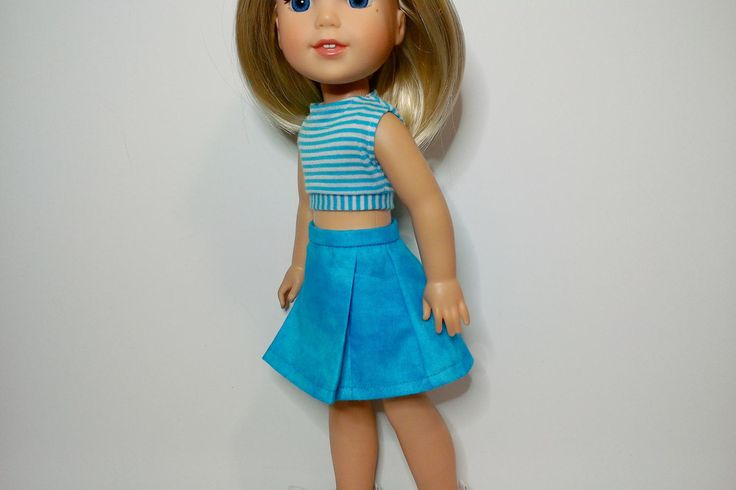 """Aqua blue and white stripe crop top and front pleat a line skirt for 14"""" doll such as Wellie Wishers and Hearts for Hearts by HannahsDressUp on Etsy"""