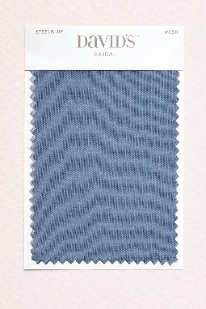 Wedding Dress Steel Blue Fabric Swatch - Mesh (White)                                                                                                                                                      More